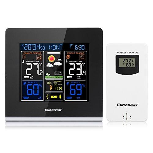 Excelvan Estación Meteorológica con Pantalla LCD, USB Recargable par