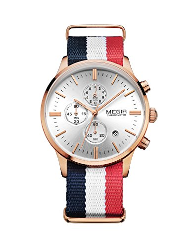 Megir Herrenuhr Fashion Sport Chronograph Kalender Quarz Uhren Canvas Armband Armbanduhr 2011,Model6