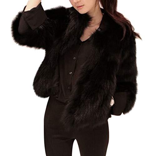 OIKAY Winterweste Jacke Damen Pullover Kunstpelz weichen Pelz Mantel Jacke Flauschige Oberbekleidung(Schwarz,EU-34/S) Pelz Damen Mantel