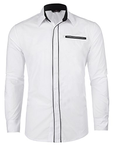 Paul jones -  camicia da cerimonia  - maniche lunghe  - uomo white x-large
