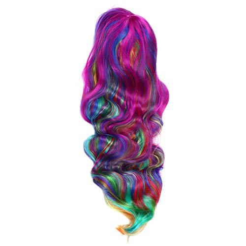 Perücken Holloween Kostüm - Lurrose lange wellenförmige Perücke Regenbogen Halloween Cosplay lockige volle Perücke Karneval Kostüm Partei liefert für Frauen Mädchen