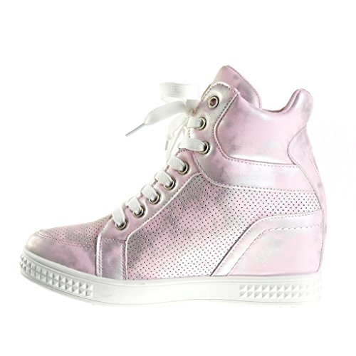 ... Angkorly Scarpe Moda Sneaker Zeppa Alti Zeppe Stile Vintage Donna  Perforato Lucide Tacco Zeppa Piattaforma 6 ... 97d5bac5130