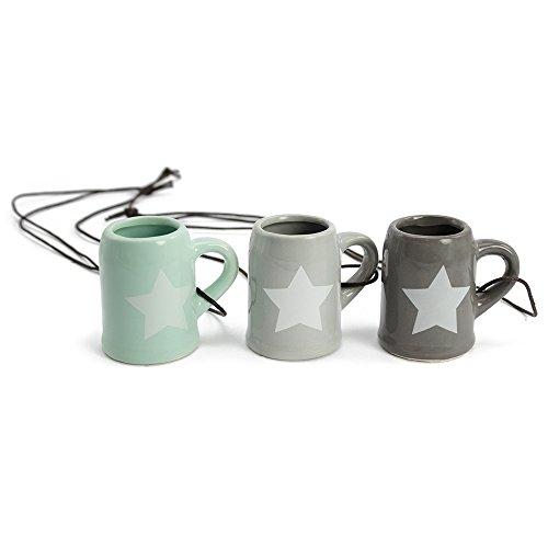 COM-FOUR® 3x Likör- und Schnaps-Stamper aus Keramik mit Stern-Motiv, in verschiedenen Farben, 50ml (03 Stück)