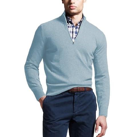 Parisbonbon Men's 100% Cashmere V-Neck Sweater Colour Light Cyan Size 24