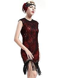 BABEYOND Robe Flapper 1920 Femme Robe Frangée avec Paillette Robe Perlée Gatsby sans Manche pour Occasion de Fête Bal Soirée Art Déco Tango Latine
