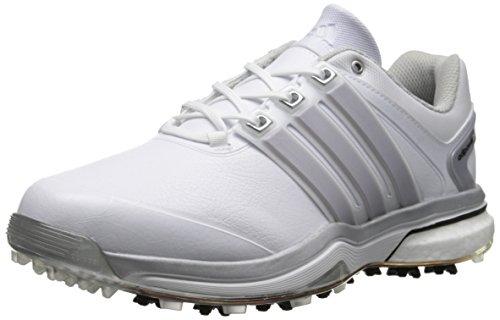 Adidas Adipower Boost Larga Pelle Scarpa de Golf, FtwWhite/Silver Met./FtwWhite,