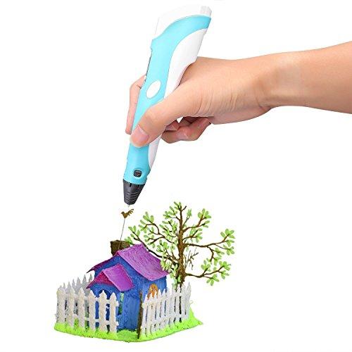 Plusinno® 3D Drucker Stift DIY Scribbler 3D Stereoscopic Printing Pen mit LCD-Bildschirm + 13 PLA Filament (10 verschiedene Farben) + 10 Papier Modelle für die Praxis der EU - 4