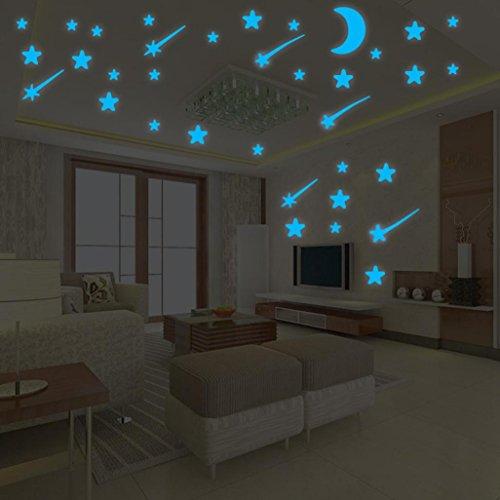 Gusspower Pegatinas de estrellas para pared que brillan en la oscuridad, calcomanías luminosas de puntos adhesivos más 1 una luna, decoración fluorescente para pared para habitaciones de niños, guarderías o fiestas(Disponible en cuatro tamaños) (B)