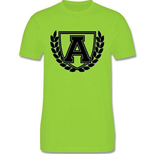 Anfangsbuchstaben - A Collegestyle - Herren Premium T-Shirt Hellgrün
