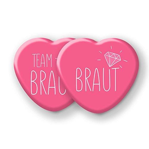 """Spielehelden Junggesellinnenabschied Accessoires - JGA Herz-Buttons 12er Set in Pink - Anstecker \""""Team Braut\"""""""