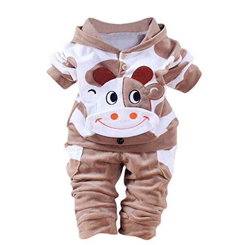 Feixiang 1pc cime + pantalone 1pc neonata bambina ragazzi mucca cartoon abiti caldi vestiti di velluto con cappuccio set top (12 mesi, marrone)