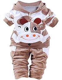 feiXIANG 1pc Cime + Pantalone 1pc Neonata Bambina Ragazzi Mucca Cartoon  Abiti Caldi Vestiti di Velluto ad64fab12cc