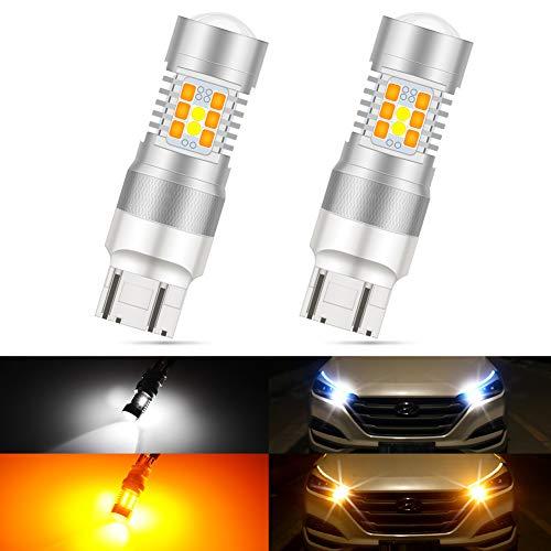 KaTur 7443 7440 7441 992 Ampoules LED Switchback Blanc/Jaune Haute Puissance 3030 Jeu de puces extrêmement Lumineux avec projecteur pour Clignotants et Feux diurnes/DRL (Pack de 2)