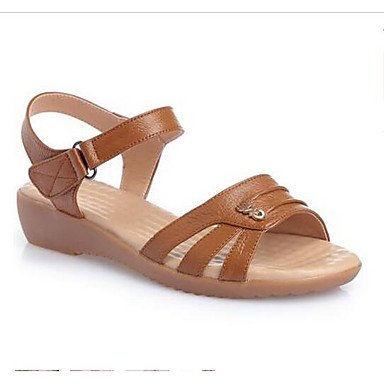 RTRY Donna Sandali Comfort Vacchetta Estate Casual Marrone Scuro Beige Piatto Nero US8.5 / EU39 / UK6.5 / CN40