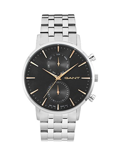 Gant Park Hill Day-Date Men's Quartz Watch with Black Dial Analogue Display and Silver Stainless Steel Bracelet W11204
