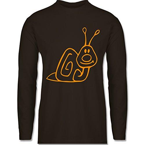 Sonstige Tiere - Schnecke - Longsleeve / langärmeliges T-Shirt für Herren Braun