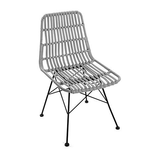 Versa 21380006 Stuhl Sinaloa, Metall, grau, 60 x 47.5 x 83