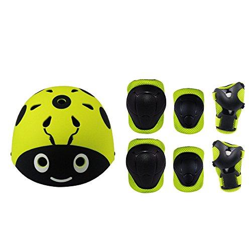 Lucky-M - Juego de 7 Almohadillas Protectoras para Deportes al Aire Libre para niños y niñas (Rodilleras, Coderas y muñequeras), Yellow ladybuy