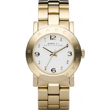 Marc Jacobs Women's Quartz Watch with White Dial Analogue Display and Gold Stainless Steel Bangle MBM3056