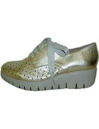 Wonders 33210, Zapato Piel Wash Platino, Piso Fly extralight, Memory Gel
