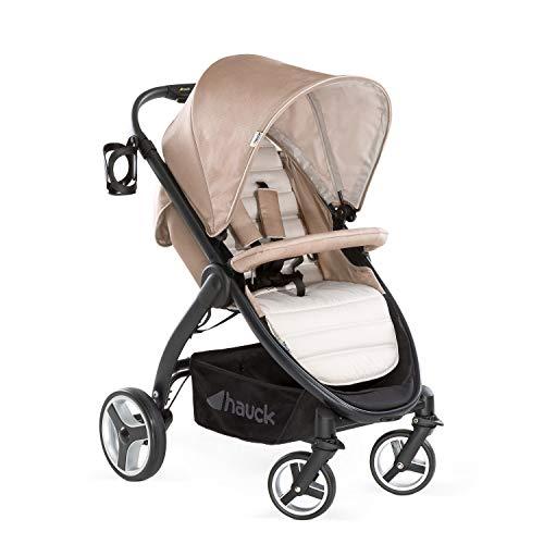 Hauck Lift Up 4 - Silla de paseo con asiento amplio, ligera, chasis aluminio, plegado libro con una mano, desde nacimiento hasta 25 kg, manillar regulable en altura, botellero, Fungi (beige)