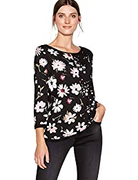 34458bb50680b John Rocha Womens Black Contrast Floral Print Long Sleeve Top