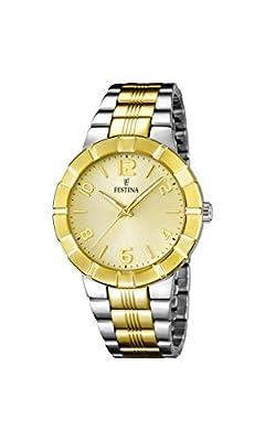 Festina F16712/1 - Reloj de cuarzo para mujer, con correa de acero inoxidable chapado, multicolor de Festina