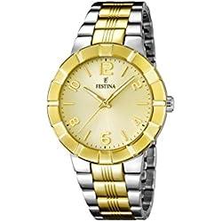 Festina F16712/1 - Reloj de cuarzo para mujer, con correa de acero inoxidable chapado, multicolor