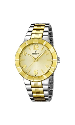 Festina Women's Quartz Watch with Gold Dial Analogue Display and Multicolour Stainless Steel Plated Bracelet F16712/1