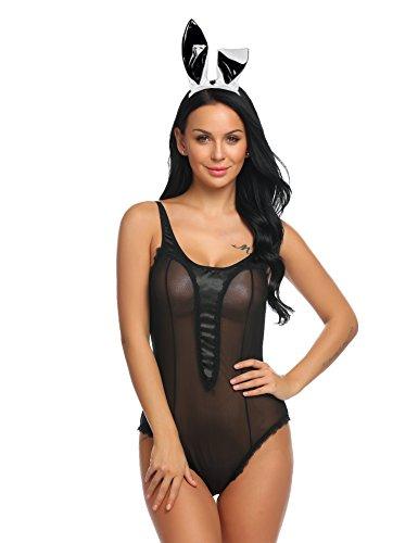 nterwäshe V-Ausschnitt Body Bodysuit Spitze Design Negligee Stringbody Bunny Teddy Einfarbig Schwarz L ()