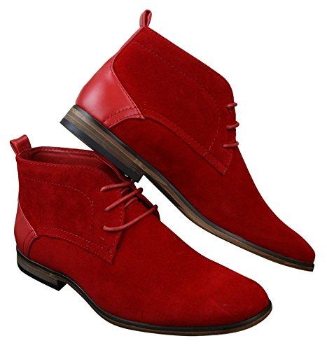Bottines homme daim PU et cuir avec lacets rouge gris marron bleu style chic et décontracté Rouge