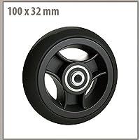 Rad mit Felge aus Kunststoff Gummi schwarz 100x 32mm