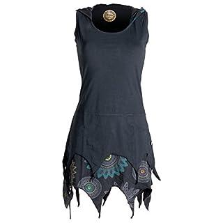 Vishes - Alternative Bekleidung - Zipfelige Elfentunika - im Lagenlook mit Blumen Bedruckt Schwarz 48