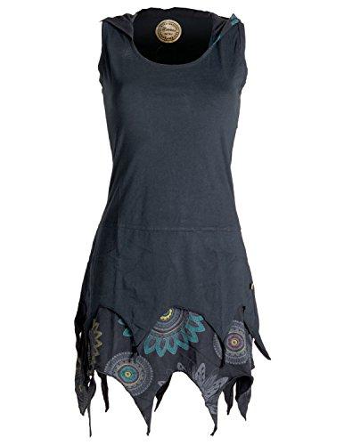 Bequem Frauen Kostüm - Vishes - Alternative Bekleidung - Zipfelige Elfentunika - im Lagenlook mit Blumen Bedruckt Schwarz 42 (XL)