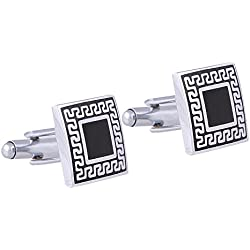 Tripin Black And Silver Brass Cufflinks Set For Men In A Gift Box