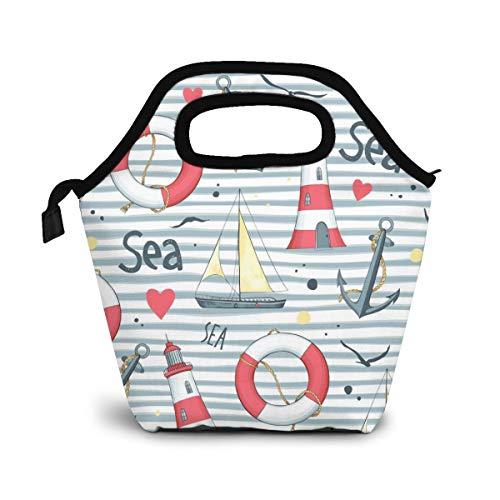 NiWCGP Segelboot-Rettungsring-Anker-Leuchtturm Lunch Tasche Wasserdicht Leichte Picknicktasche Mittagessen Isoliertasche Thermotasche Auslaufsichere zur Arbeit und Schule gehen