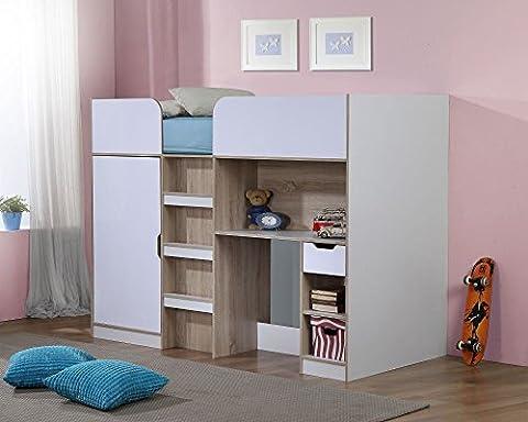 Happy Beds Paddington Oak and White High Sleeper Bunk Storage Bed Wardrobe Desk with Orthopaedic Mattress 3' Single 90 x 190