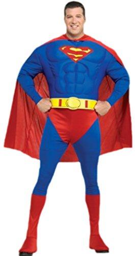 Confettery - Herren Kostüm Superman mit Muskeltop, Hose mit integrierten Überziehstiefeln, Gürtel und Umhang, 3XL, Blau