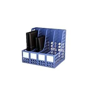 Plastique 4 compartiments Vertical Bureau Organisateurs de fichiers (Bleu)
