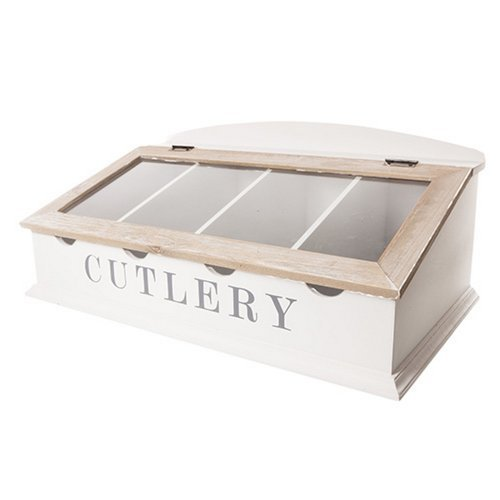 West5Products Large Table Top White & Brown Wooden Cutlery Box