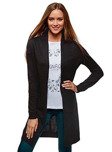 oodji Collection Damen Langer Verschlussloser Cardigan, Schwarz, DE 34 / EU 36 / XS