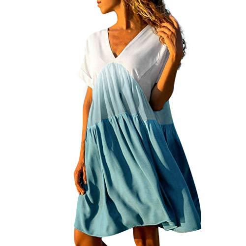 Riou Sommerkleid Damen Kurze Knopf Sexy V-Ausschnitt Patchwork Farbverlauf Kurzarm Strandkleid für Frauen Beiläufiges Beach Strand Mini Princess ()