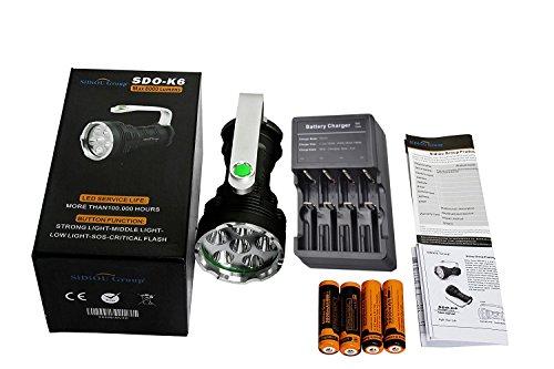 Preisvergleich Produktbild Sidiou Group NEU LED Taschenlampe Hochleistungs Super Hell 8000 Lumen 6x CREE XM-L T6 LED Taschenlampe Suchscheinwerfer Mit 4x 3.7V 3000MAH 18650 Wiederaufladbar Akkus Mit 18650 Batterien Ladegeräte
