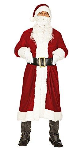 Nikolaus Weihnachtsmann Kostüm Set mit Mantel Nikolausmütze und Bart - Sehr schönes Komplettkostüm für Weihnachten - Gr. 50 52 - Dusche Kostüm
