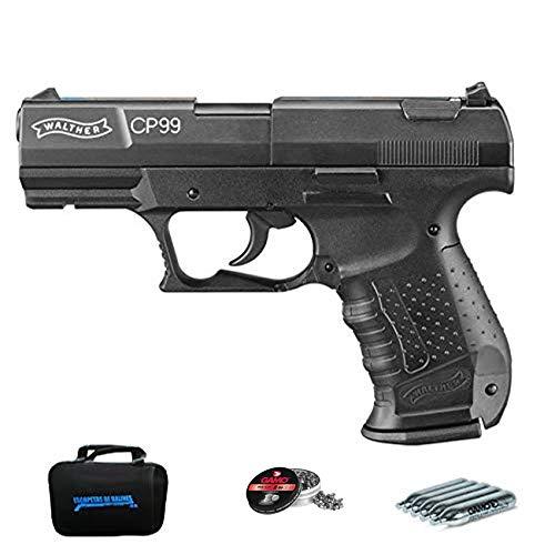Walther CP99 (versión balines) | Pack Pistola de balines (perdigones de Plomo) con maletín. Arma de Aire comprimido CO2 Calibre 4,5mm