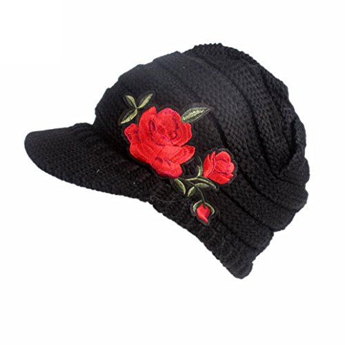 VENMO Frau Winter Strickmütze Lässig Damen Barett Kappe Turban Krempe Hut Stickerei Knitting Hat Berets Turban Brim Hat Cap Pile Cap Schirmmütze Dame Kopfbedeckung Winter Dick Warm (Black) (Feine Fedora Stroh)