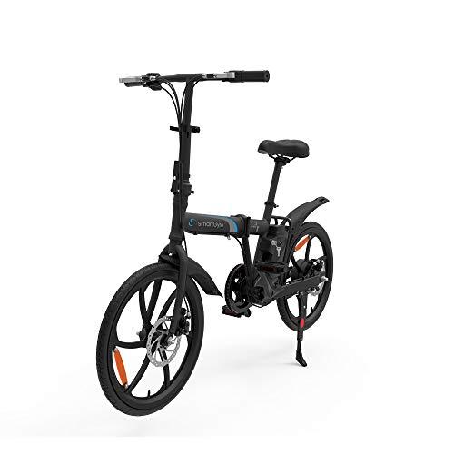 "SmartGyro Ebike City - Bicicleta Eléctrica, Ruedas de 20\"", Asistente al Pedaleo, Plegable, Batería extraíble de litio de 6000 mAh, Frenos de Disco, 6 velocidades SHIMANO, Autonomía 30-50 Km"