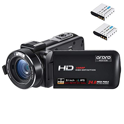 r Full HD Video Kamera Vlogging Kamera (1080P 30FPS, 16X Digitalzoom, Pausenfunktion, 3.1 Zoll IPS Touch Screen) Video Camcorder mit 16GB SD Karte ()