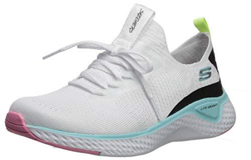 Skechers Damen Stretch Flat Knit Laced Slip Sneaker, (Olive Mesh/Hot Pink Trim Wmlt), 4 EU -