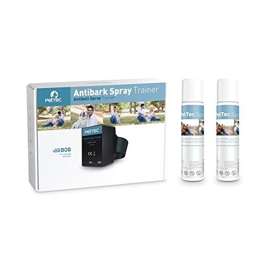 Spray Automático Anti Ladrido para Entrenar a Perro con Señal Sonora, Control Inmediato, Seguro para Perros y Humanos + 2 Latas de Repuesto y Pilas Incluidas (Neutro)